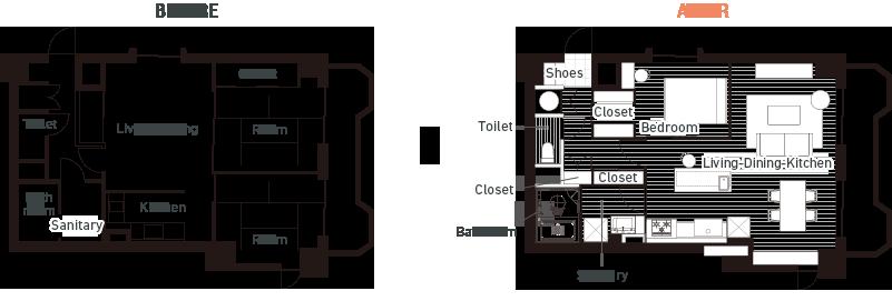 リノベ―ション事例の図面